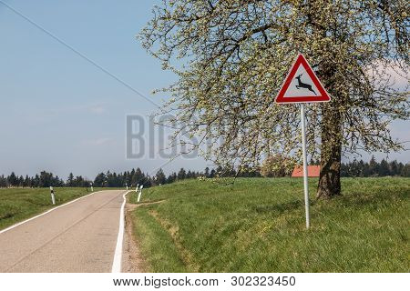 Traffic Sign For Game Trail Where Wild Animals Cross The Road