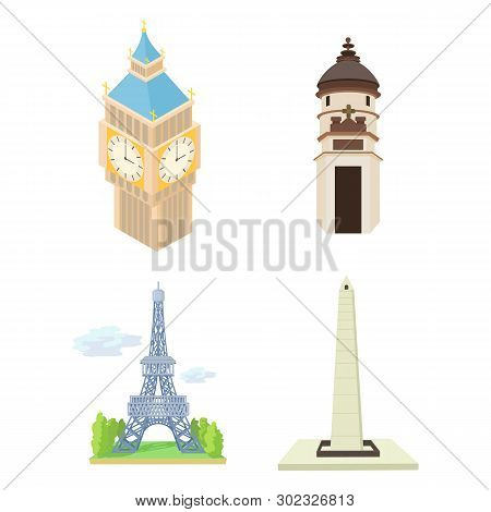 Hystorical Tower Icon Set. Cartoon Set Of Hystorical Tower Icons For Web Design Isolated On White Ba