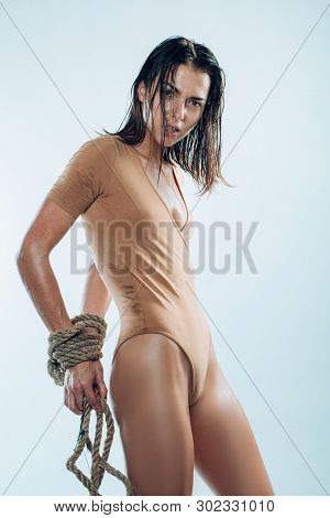 The Beauty Of Tight Binding. Sexy Woman With Artistic Wrists Binding. Erotic Woman With Rope Binding