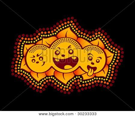 Sun flower graffiti gang dotted isolated over black