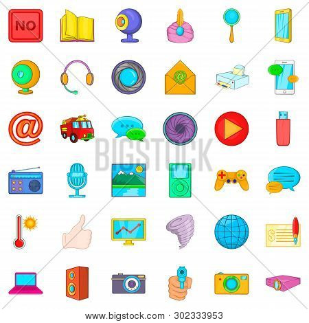 News Bulletin Icons Set. Cartoon Set Of 36 News Bulletin Icons For Web Isolated On White Background
