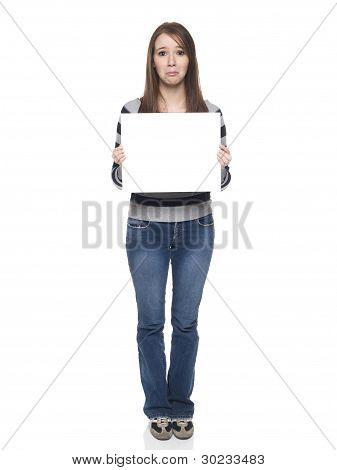 Casual Woman - Blank Sign Sad
