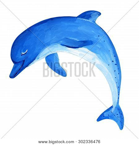 Gouache Blue Jumping Dolphin With Nice Smile