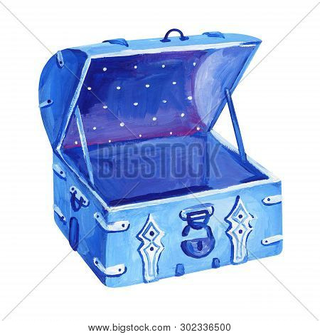 Gouache Blue Old Opened Chest With Padlock