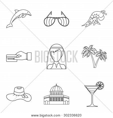 Solemn Ceremony Icons Set. Outline Set Of 9 Solemn Ceremony Icons For Web Isolated On White Backgrou