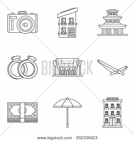 Fondness Icons Set. Outline Set Of 9 Fondness Icons For Web Isolated On White Background