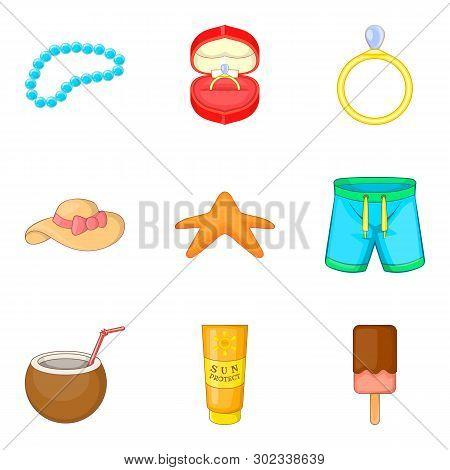 Sweetheart Icons Set. Cartoon Set Of 9 Sweetheart Icons For Web Isolated On White Background