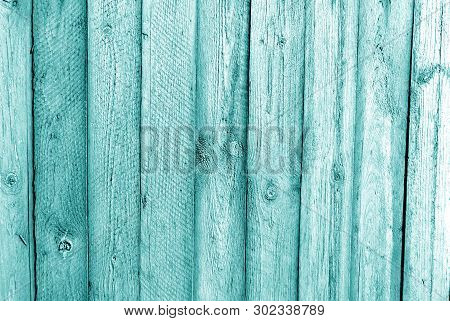 Old Grungy Wooden Planks Background In Cyan Tone. Abstract Background And Texture For Design.