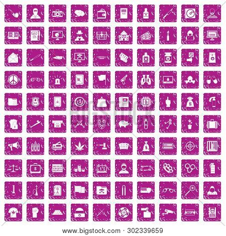 100 Criminal Offence Icons Set In Grunge Style Pink Color Isolated On White Background Illustration