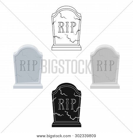 Headstone Icon In Cartoon, Black Style Isolated On White Background. Funeral Ceremony Symbol Stock V
