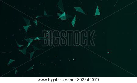 Abstract Digital Background. Cosmic Particles. The Effect Of Plexus. Big Data Visualization. 3D Rend