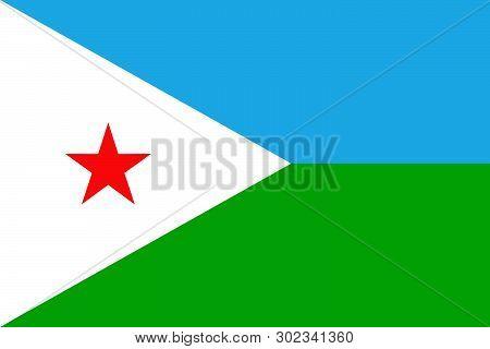 The National Flag Of Djibouti. Drapeau De Djibouti. Djiboutian Natinal Symbol. Vector Illustration
