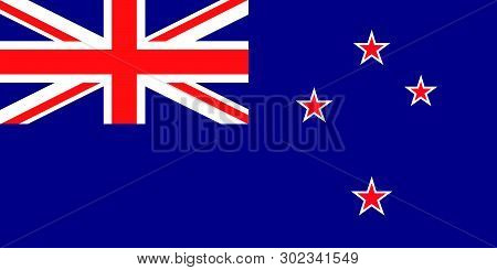 Vector Flag Of New Zealand. New Zealand Ensign. Union Jack And Southern Cross