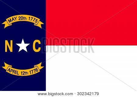 North Carolina Vector Flag. Vector Illustration. United States Of America. Raleigh