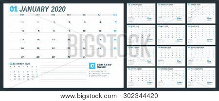 Calendar Template For 2020 Year. 12 Months. Business Planner. Stationery Design. Week Starts On Mond