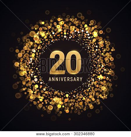 20 Years Anniversary Isolated Vector Design Element. Twenty Birthday Logo With Blurred Light Effect