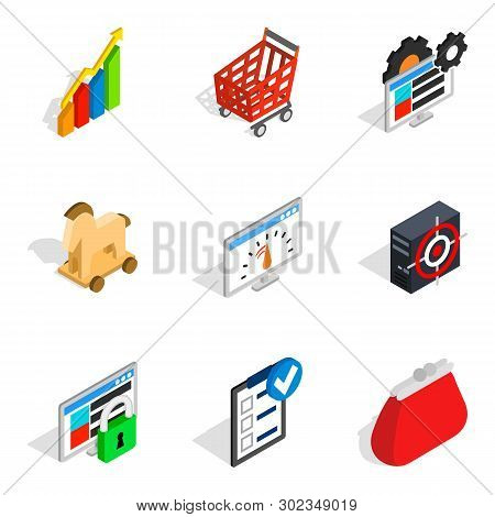 Statistical Returns Icons Set. Isometric Set Of 9 Statistical Returns Icons For Web Isolated On Whit