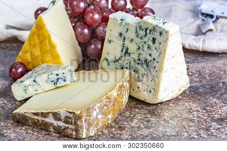 Marble Plate With Blue Auvergne Aop French Blue Cheese, Yellow Saint Paulin And Ossau-iraty Sheep Ch