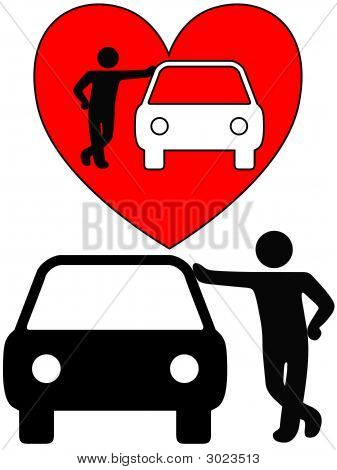 Love the car! A symbol person as a loving owner leans on an autor or a silhouette of a dealer or mechanic leaning on a car. poster