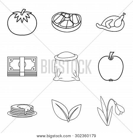 Paternal House Icons Set. Outline Set Of 9 Paternal House Icons For Web Isolated On White Background