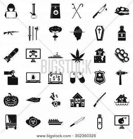 Oppression Icons Set. Simple Set Of 36 Oppression Icons For Web Isolated On White Background