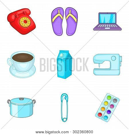 Chores icons set. Cartoon set of 9 chores icons for web isolated on white background poster