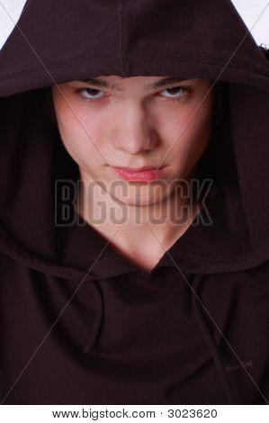 Close-Up. Dark Portrait Of Dangerous Young Man