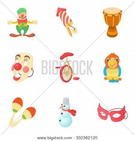 Bauble Icons Set. Cartoon Set Of 9 Bauble Icons For Web Isolated On White Background
