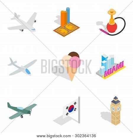 Unforgettable Journey Icons Set. Isometric Set Of 9 Unforgettable Journey Icons For Web Isolated On
