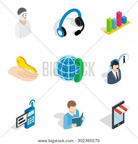 Personnel Administration Icons Set. Isometric Set Of 9 Personnel Administration Icons For Web Isolat