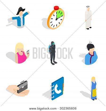 Staff Management Icons Set. Isometric Set Of 9 Staff Management Icons For Web Isolated On White Back