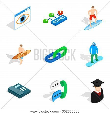 Personnel Department Icons Set. Isometric Set Of 9 Personnel Department Icons For Web Isolated On Wh