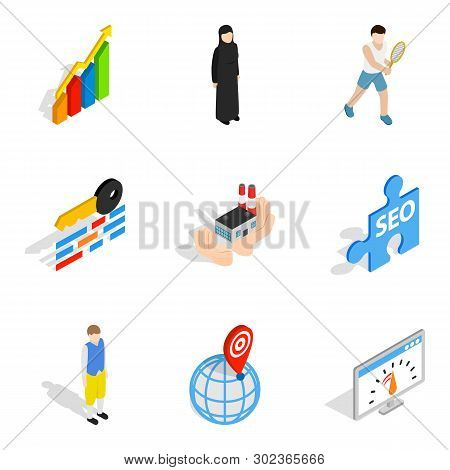 Working Personnel Icons Set. Isometric Set Of 9 Working Personnel Icons For Web Isolated On White Ba