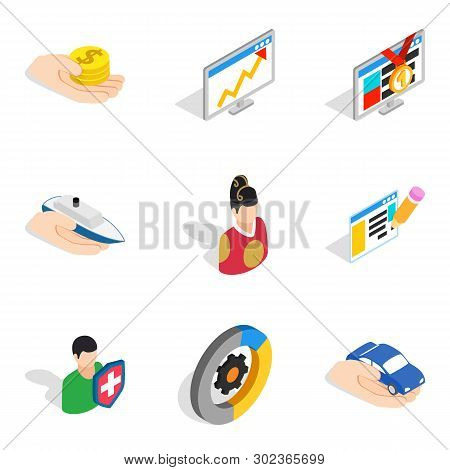 Operating Personnel Icons Set. Isometric Set Of 9 Operating Personnel Icons For Web Isolated On Whit