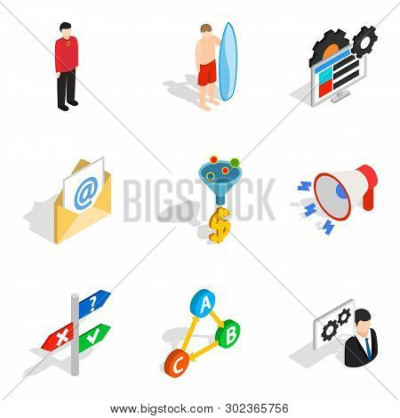 Technical Personnel Icons Set. Isometric Set Of 9 Technical Personnel Icons For Web Isolated On Whit