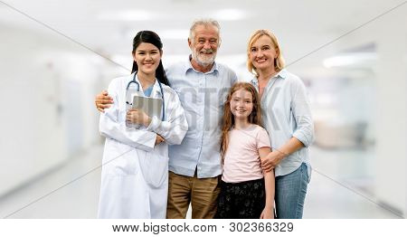 Doctor With Happy Family Of Mother, Father And Daughter At The Hospital. Medical Healthcare And Doct