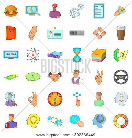 Business Partner Icons Set. Cartoon Set Of 36 Business Partner Icons For Web Isolated On White Backg