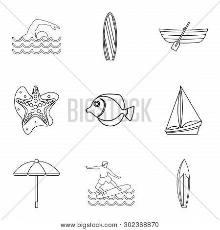 Water Lifestyle Icons Set. Outline Set Of 9 Water Lifestyle Icons For Web Isolated On White Backgrou