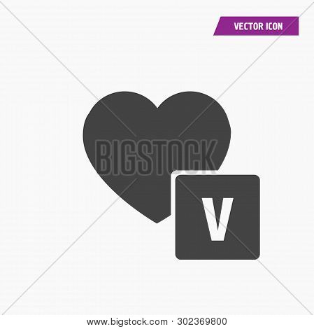 Black Heart Icon With Volt, Voltage Sign. High Voltage From Love.vector, White Background.