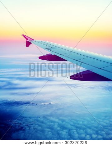 View on Iceland island through airplane window. Aerial photography