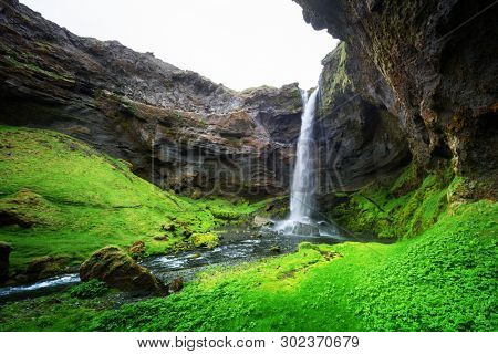 Kvernufoss waterfall in south Iceland, Europe