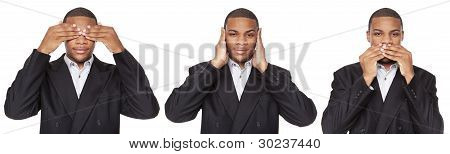 See No Evil Poses African American Businessman Isolated On White