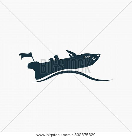 Black Powerboat, Motorboat Icon On Waves. Vector On White Font.