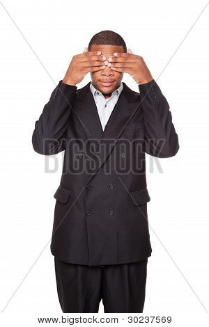 See No Evil - African American Businessman Isolated On White