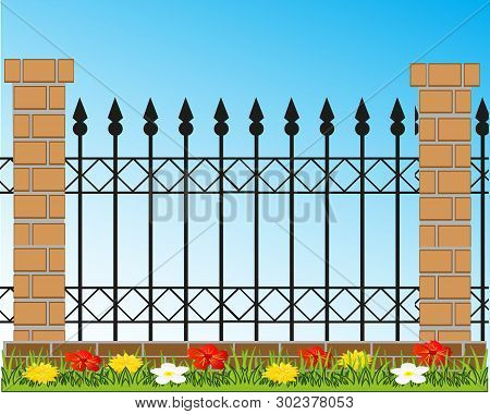 Vector Illustration Of The Decorative Fence From Brick And Ferric