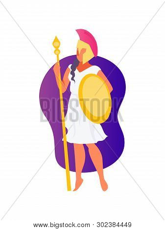 Cartoon Greek Goddess Athena With A Shield And A Spear. Vector Illustration
