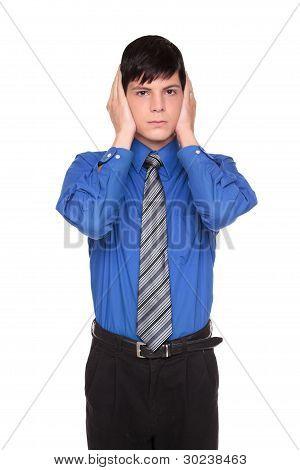 Hear No Evil - Caucasian Businessman Posing