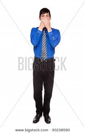 Speak No Evil - Caucasian Businessman Posing