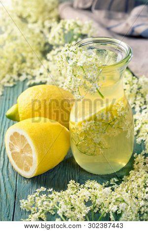 Elderflower syrup in a glass