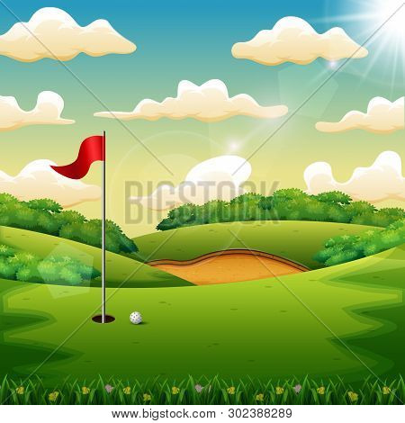 Illustration  Of Golf Ball And A Flag On Green Hill
